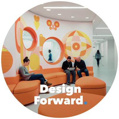 People sitting on a bench in a hospital with a colorful mural behind them, the copy over it reads, Design Forward