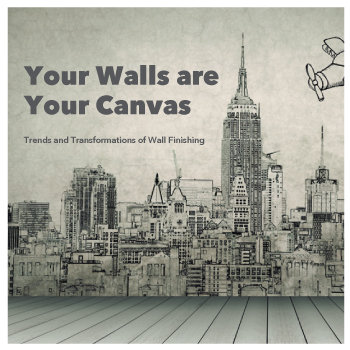 Drawing of a city with text reading Your Walls are Your Canvas