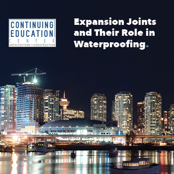 A cityscape at night with the Continuing Education Center logo and copy that reads, Expansion Joints and Their Role in Waterproofing.