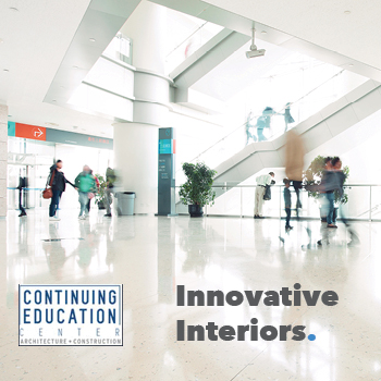 People walking through an airport with the Continuing Education Center logo and copy that reads, Innovative Interiors.