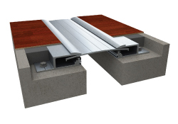 Rendering of glide plate expansion joint floor system