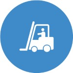 Blue circle with a forklift icon in white