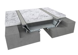 Rendering of a expansion joint floor pan system