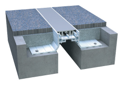 Rendering of a santoprene expansion joint floor system