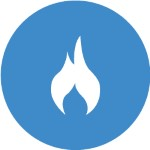 blue circle with white fire icon