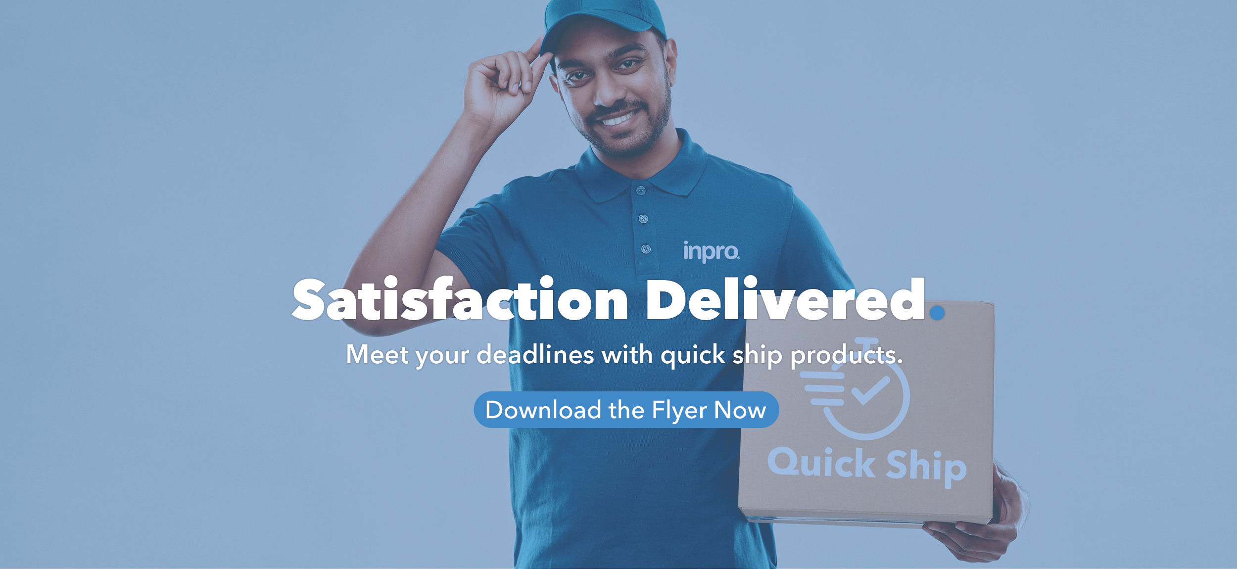 Delivery man wearing a blue polo with the Inpro logo holding a box that says Quick Ship