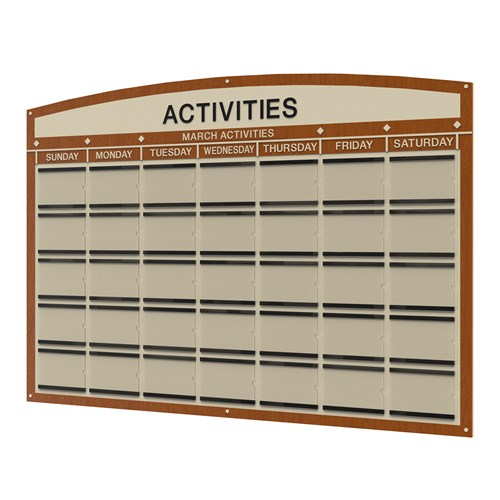 Activity calendar for a month with days of the week