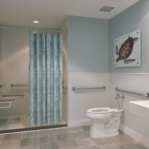 Bathroom with turtle printed wall art