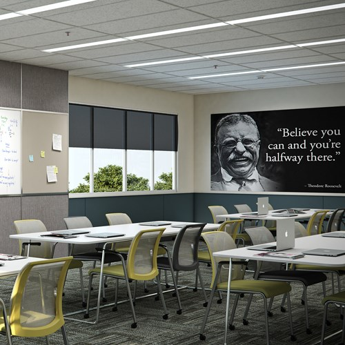 Classroom with quote printed wall art