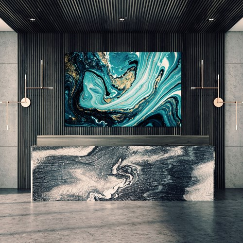 Lobby with marble printed wall art