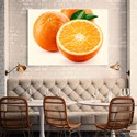 Restaurant dining area with orange fruit printed wall art