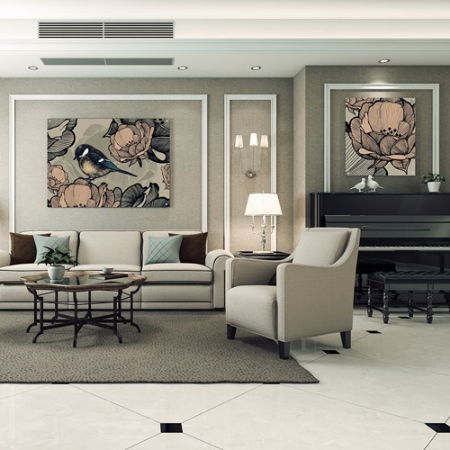 Senior living common area with birds and floral printed wall art