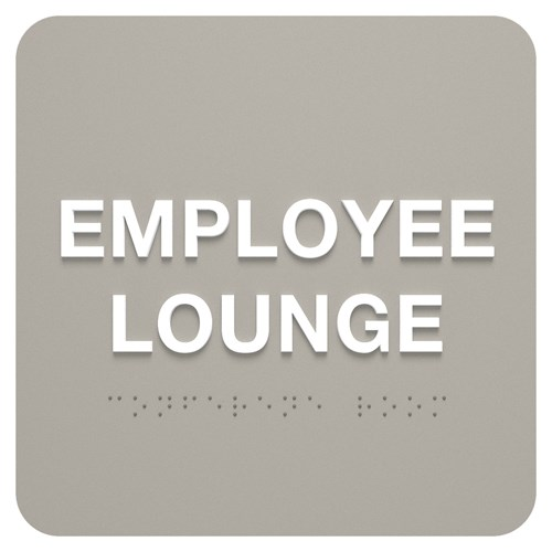 ADA Identification Employee Lounge Sign in gray Aspen Standard Sign Design with White Text