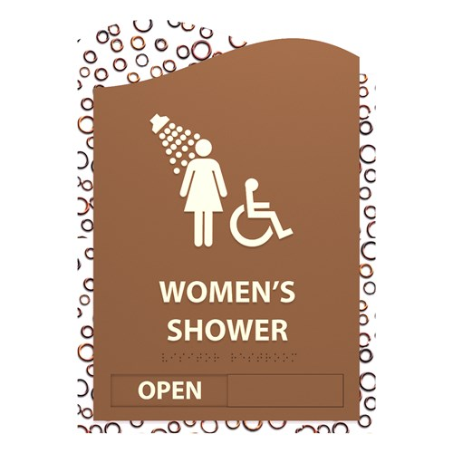 Barcelona Standard Sign Design with white text and brown background for accessible women's bathroom