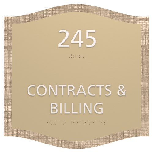 ADA Contracts and billing room identification sign in Savannah Standard Sign Design