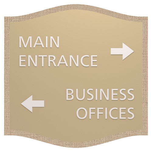 Directional sign for entrance and offices with arrows in Savannah Standard Sign Design