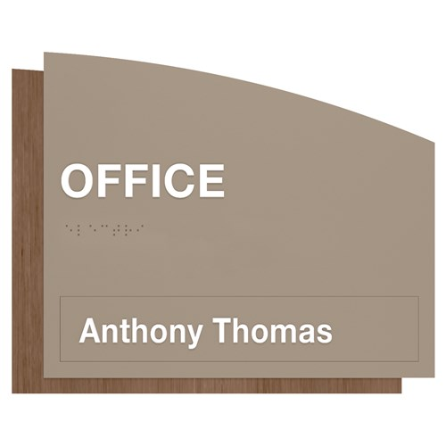 ADA office sign with magnetic name plate gray and wood grain in Sydney Standard Sign Design