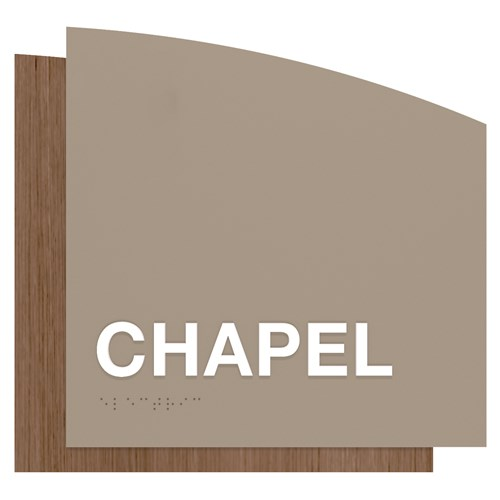 ADA chapel identification sign gray and wood grain in Sydney Standard Sign Design
