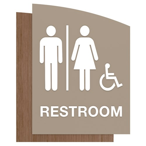 ADA unisex accessible restroom sign gray and wood grain in Sydney Standard Sign Design