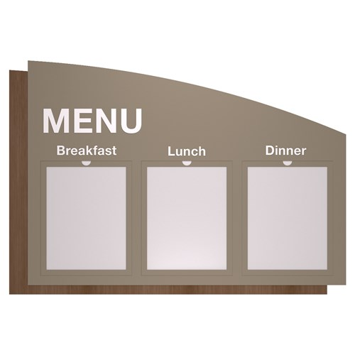 Menu sign with modular windows gray and wood grain in Sydney Standard Sign Design
