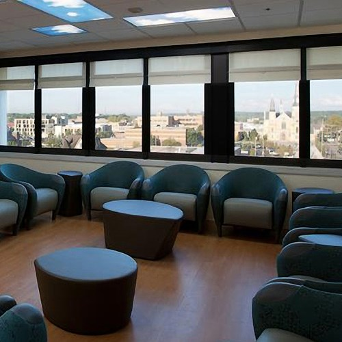 WebbLok Shades installed in a Waiting Room