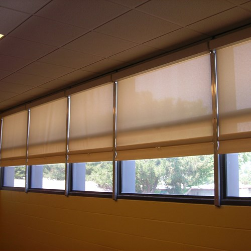 WebbLok Shades installed in a classroom