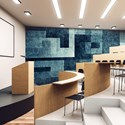 Aspex printed wall art geometric blue in a classroom