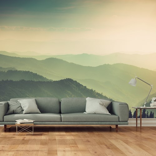 Aspex printed wall art of mountains in a lounge area