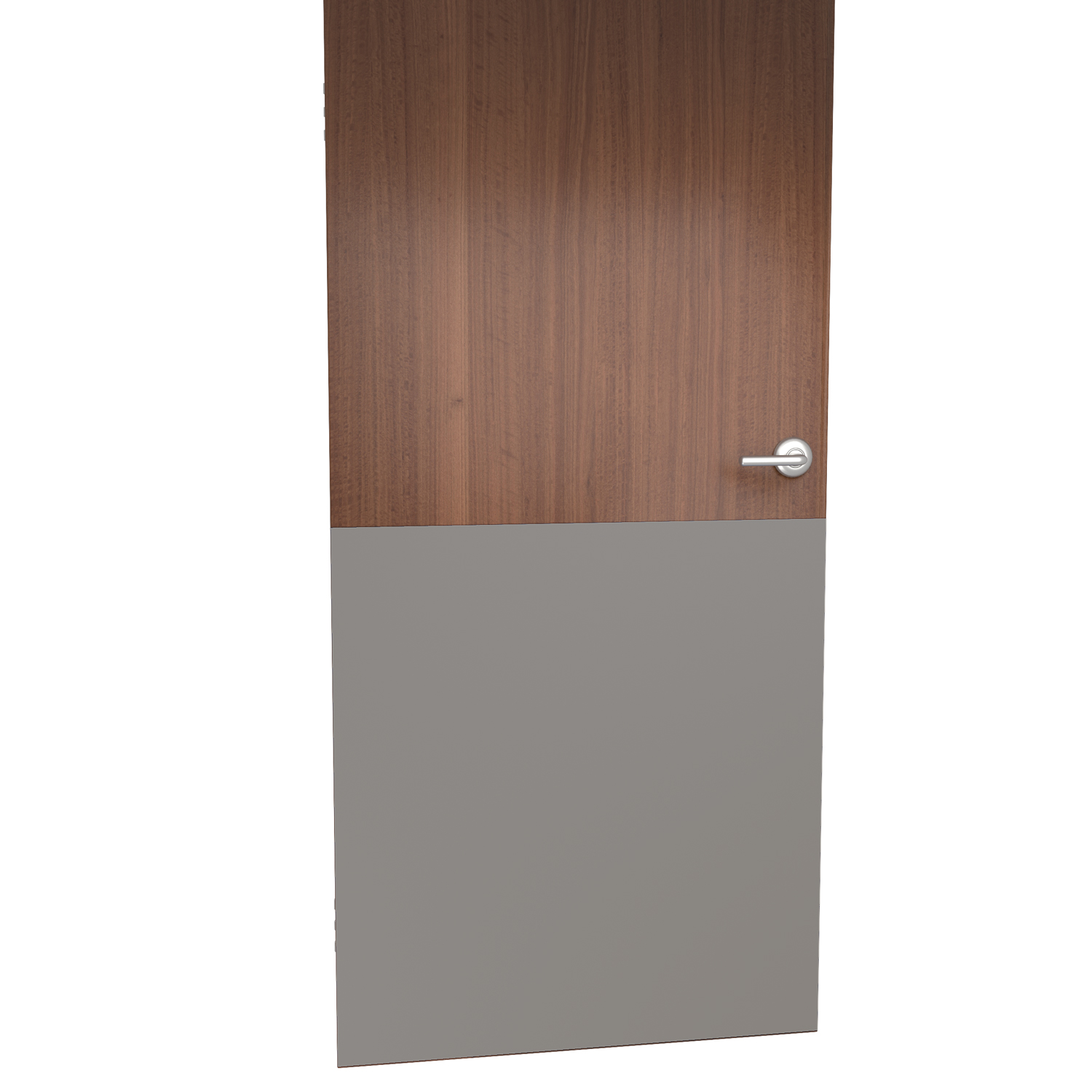 Straight edge kickplate for door in shiprock gray