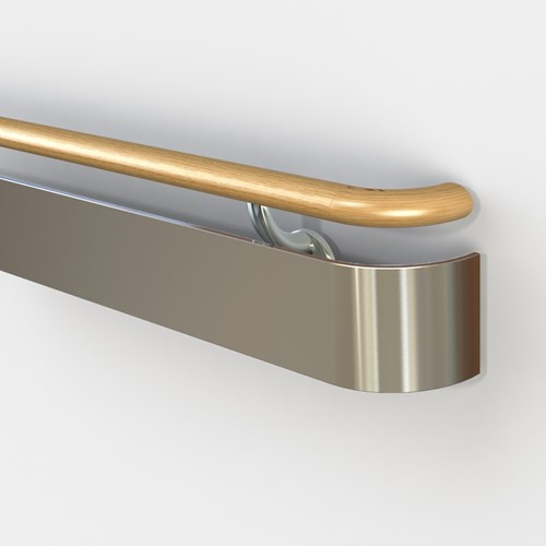 3540 handrail with wood top rail and stainless steel bottom rail