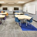 Gray rigid vinyl sheet with trim in classroom