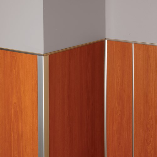 Faux metal rigid sheet trim  with wood grain finish rigid vinyl panels