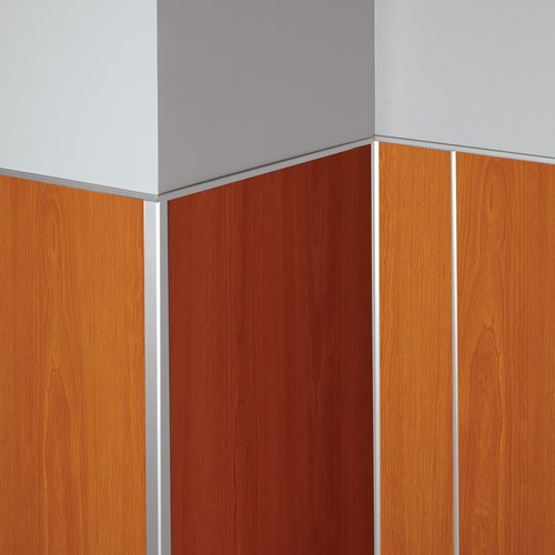 Aluminum rigid sheet trim pieces with wood grain panels