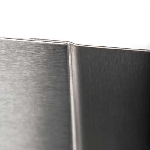 Close up view of stainless steel wall panel join