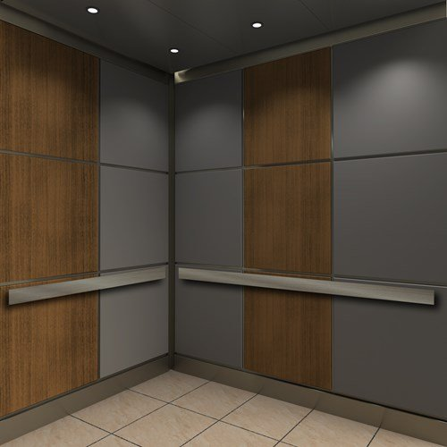 Corvus elevator cab style with vertical wood grain and gray panels