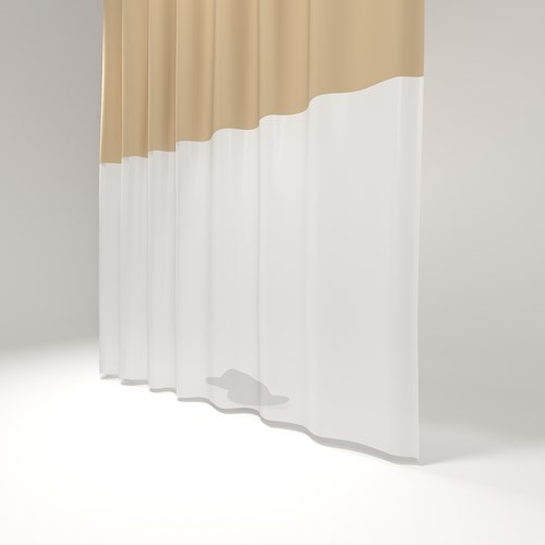 Tan and white security shower curtain