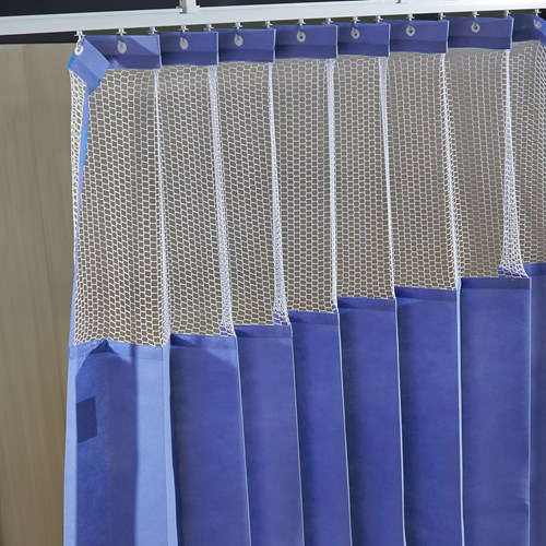 Disposable Cubicle Curtain in periwinkle color with mesh on top
