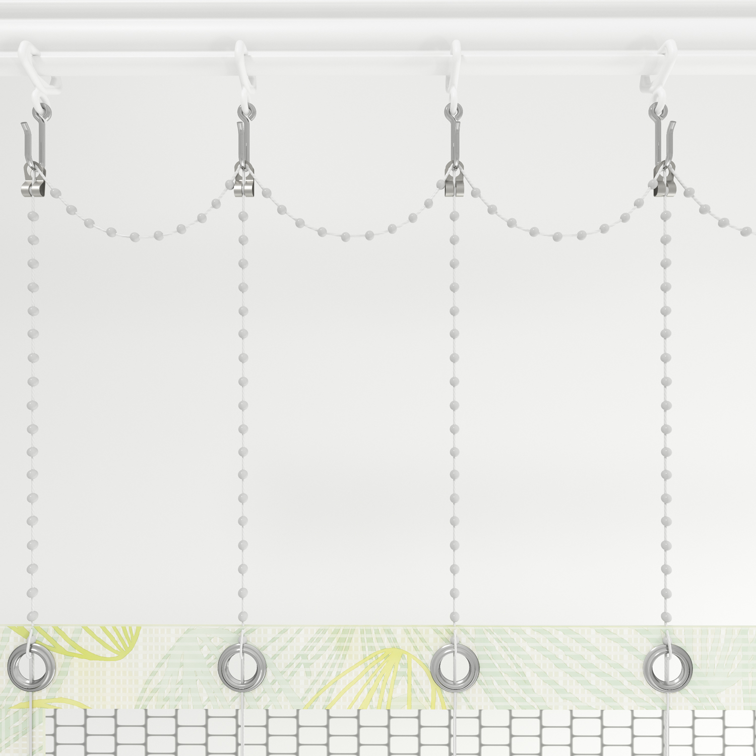 Cubicle curtain adjustable drop chain