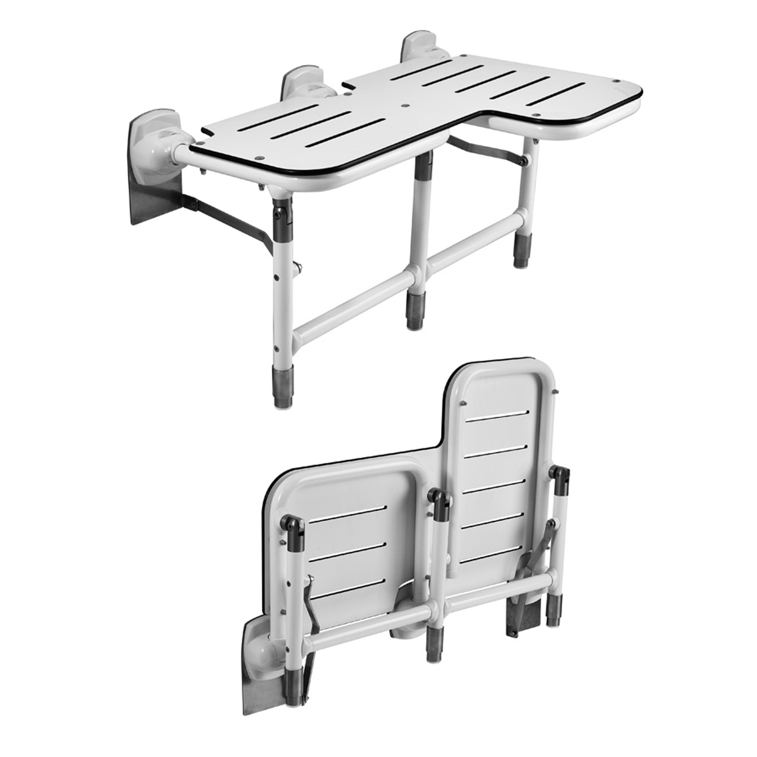Commercial shower bariatric folding seat with legs
