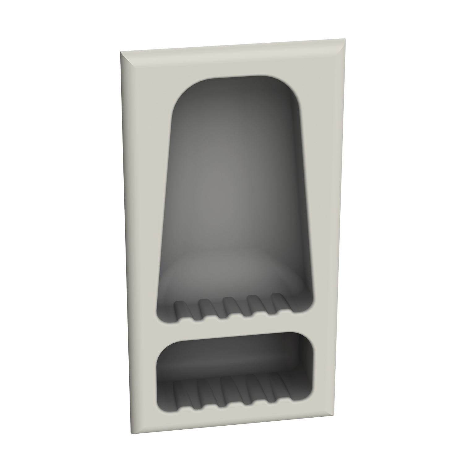 Large recessed shower caddy for commercial showers