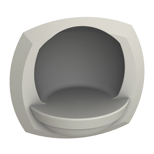Oval recessed soap dish for commercial showers