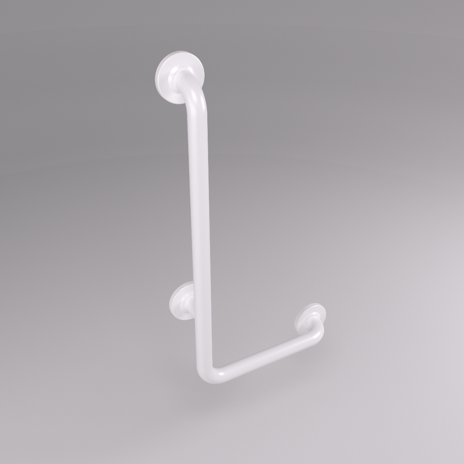 L-shaped vinyl grab bar
