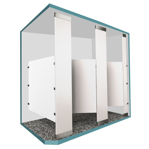Floor to ceiling mounted toilet partitions