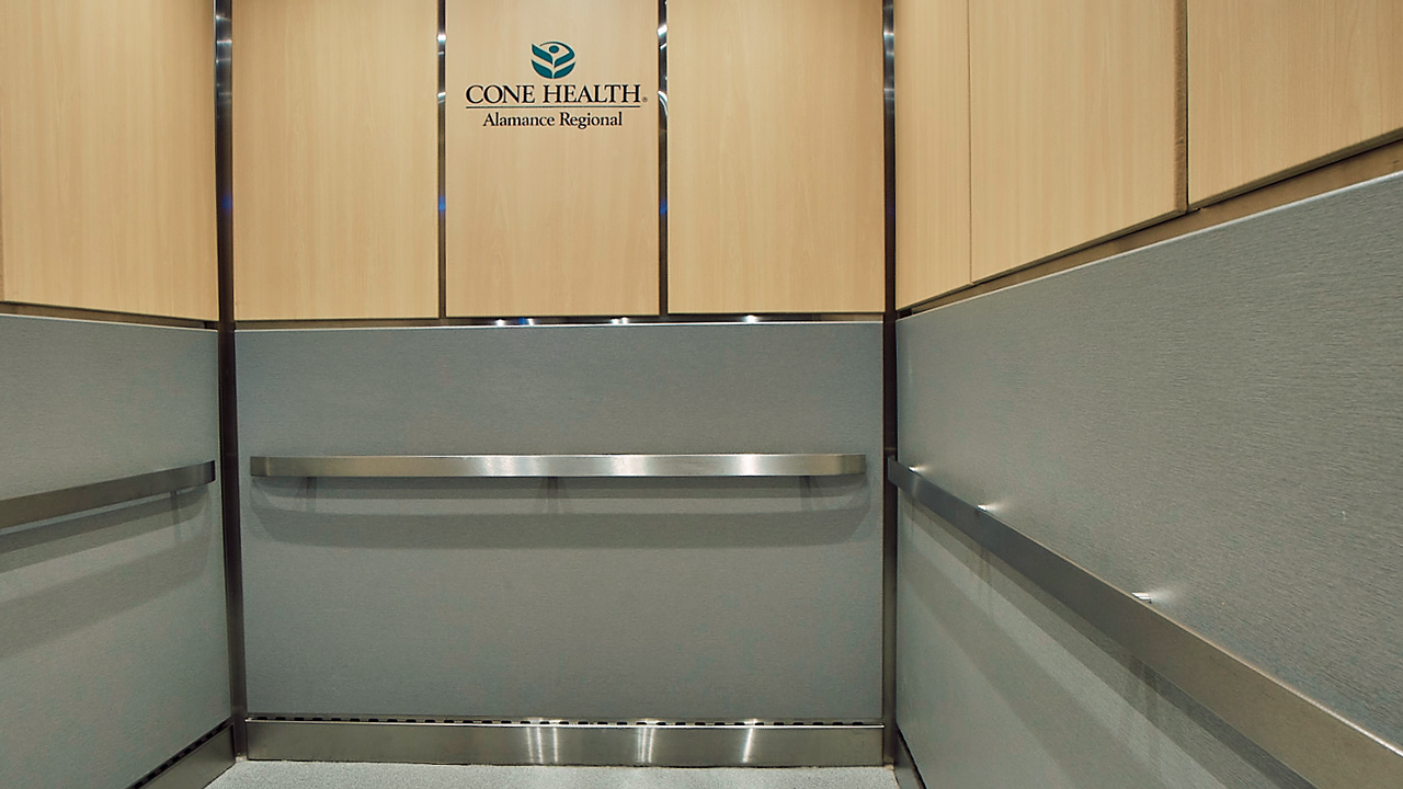 Hospital elevator interior refurbish
