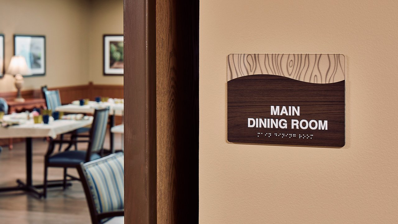 Caring Heights dining room sign